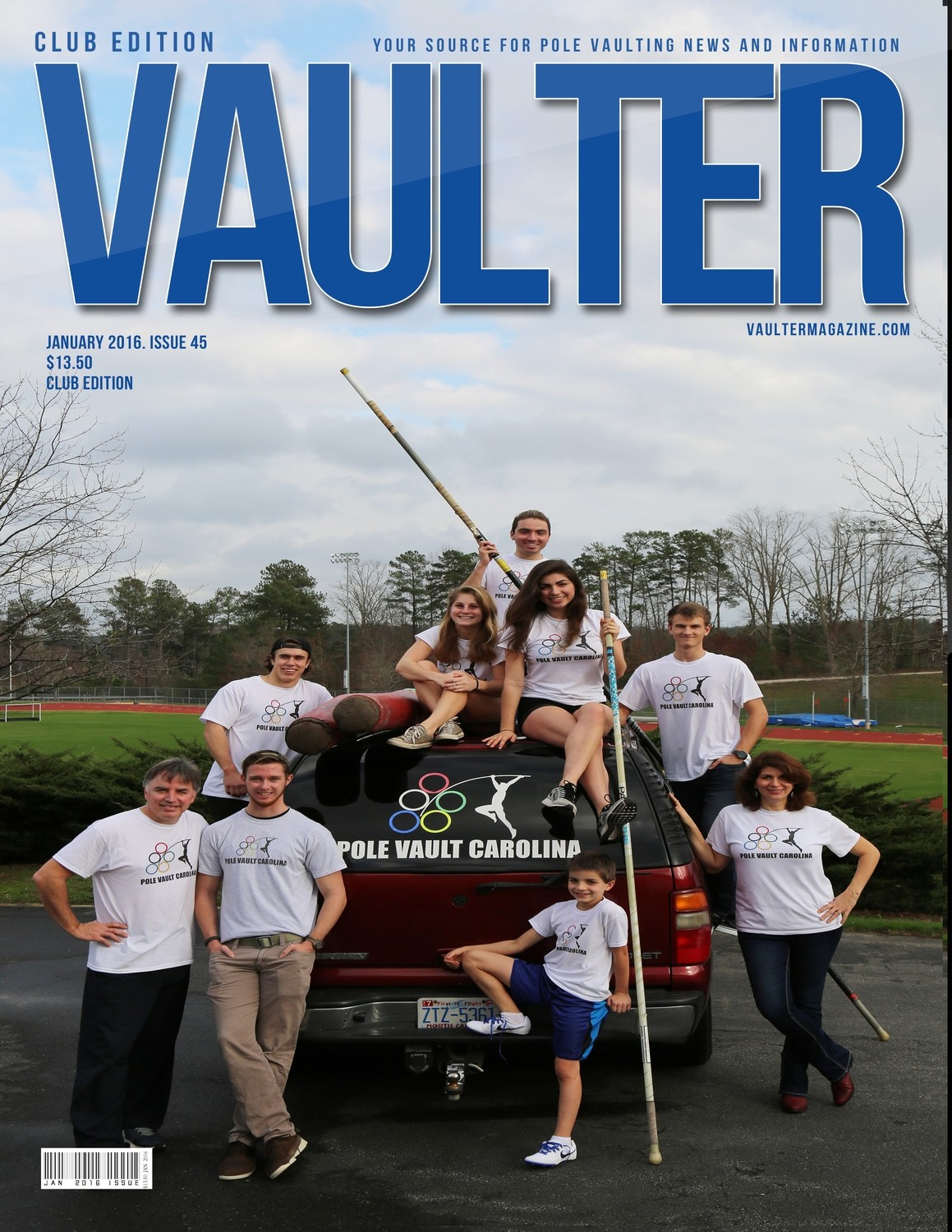 "January 2016 Pole Vault Carolina Issue of VAULTER Magazine USPS First Class ""ONLY"""