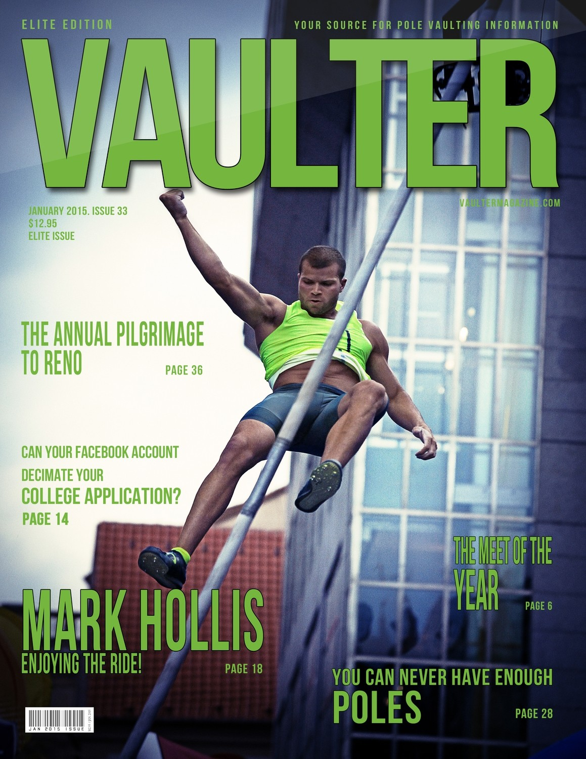 "January 2015 Mark Hollis Issue of VAULTER Magazine USPS First Class ""ONLY"""