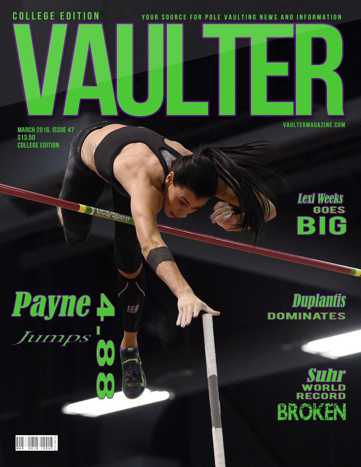 """Demi Payne Vaulter Magazine March 2016 USPS First Class """"ONLY"""""""