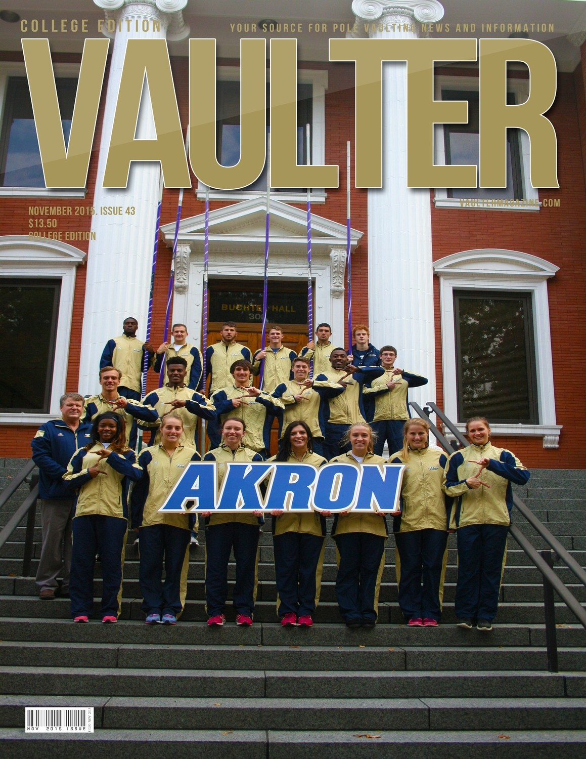 """November 2015 University of Akron Issue of VAULTER Magazine USPS First Class """"ONLY"""""""