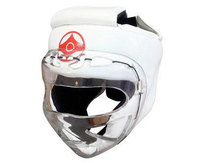 Шлем для каратэ с пластмассовой маской (кожзаменитель)