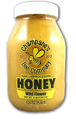 3 lbs. Raw Unprocessed Honey - Glass Jar