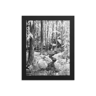 Moose Beach Cabin Framed Poster