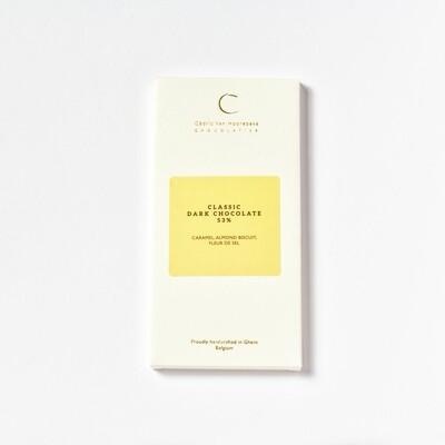 Caramel, almond biscuit, fleur de sel & Classic dark chocolate 53%