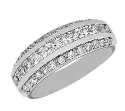 b8c4ec564ad Three-Row Princess-Cut and Round Diamond Wedding Band