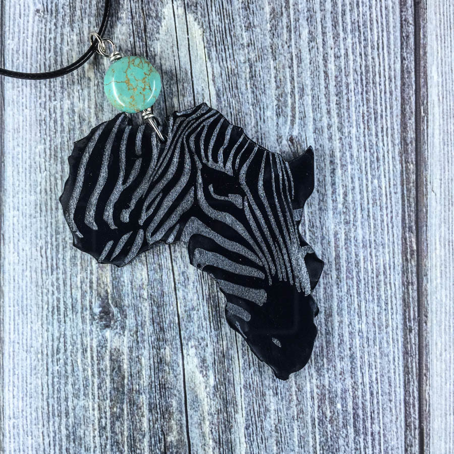 AfroZebra Necklace w/ Blue Brown Bead AFRZEB-NEC-ABLK-BBLUBRW-L