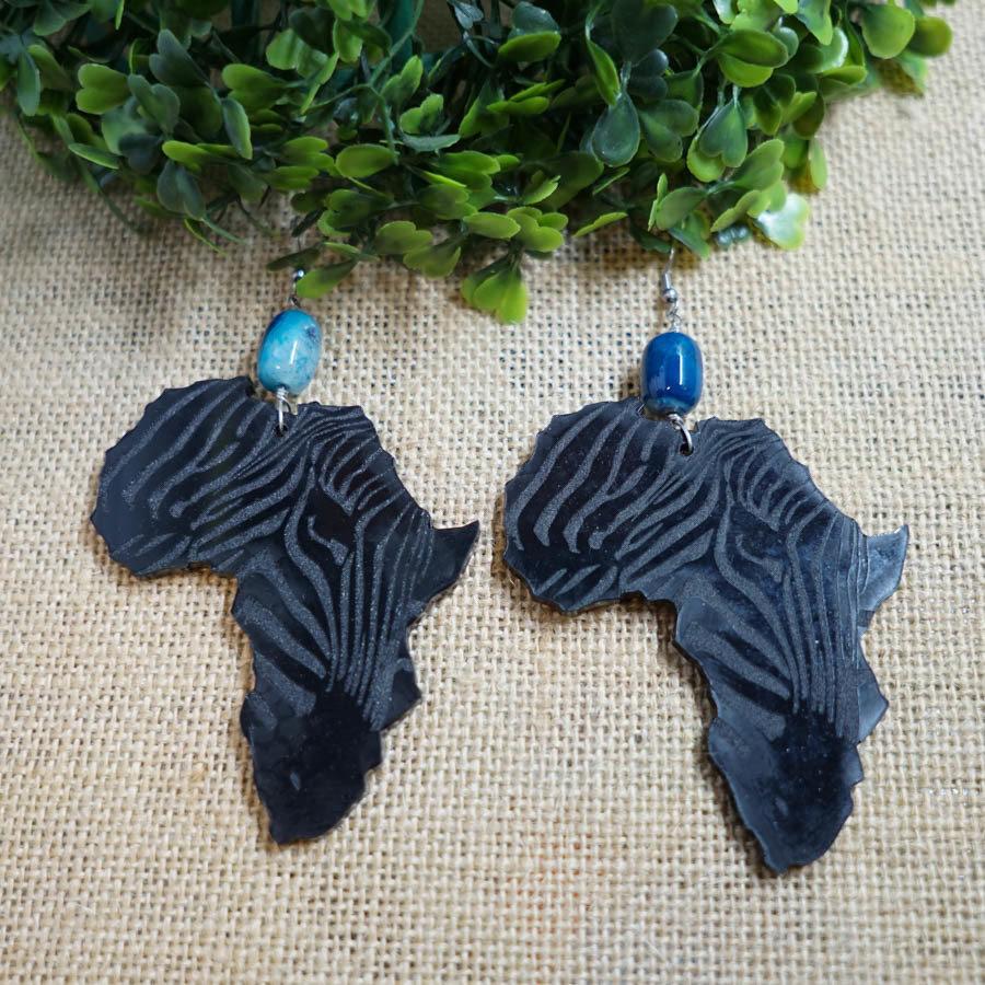 AfroZebra Earrings w/ Blue Glass Beads AFRZEB-EAR-ABLK-BBLU-L
