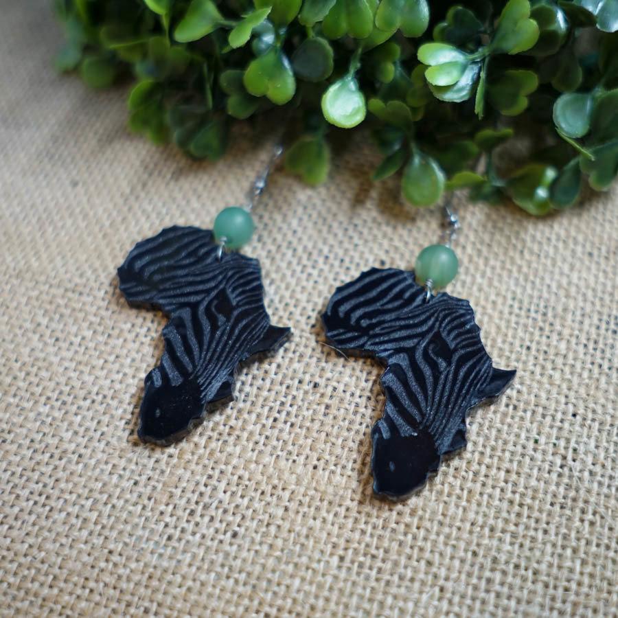 AfroZebra Earrings w/ Green Glass Beads AFRZEB-EAR-ABLK-BGREGL-M