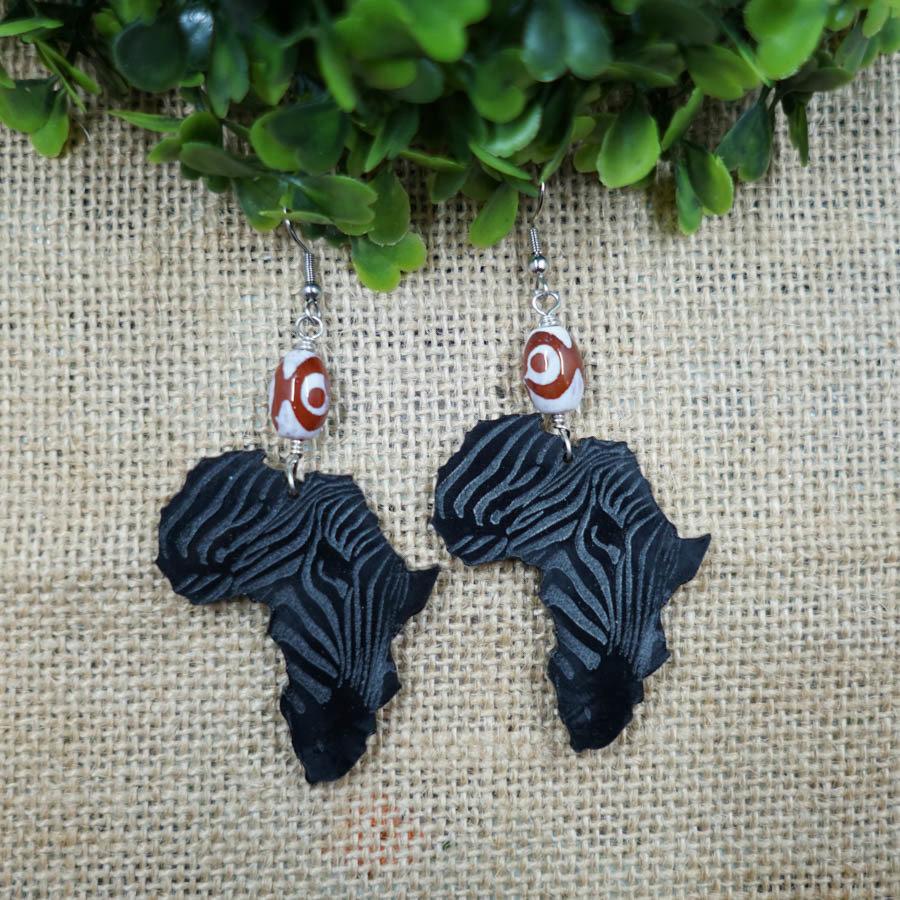 AfroZebra Earrings w/ Orange Glass Beads AFRZEB-EAR-ABLK-BORA-M