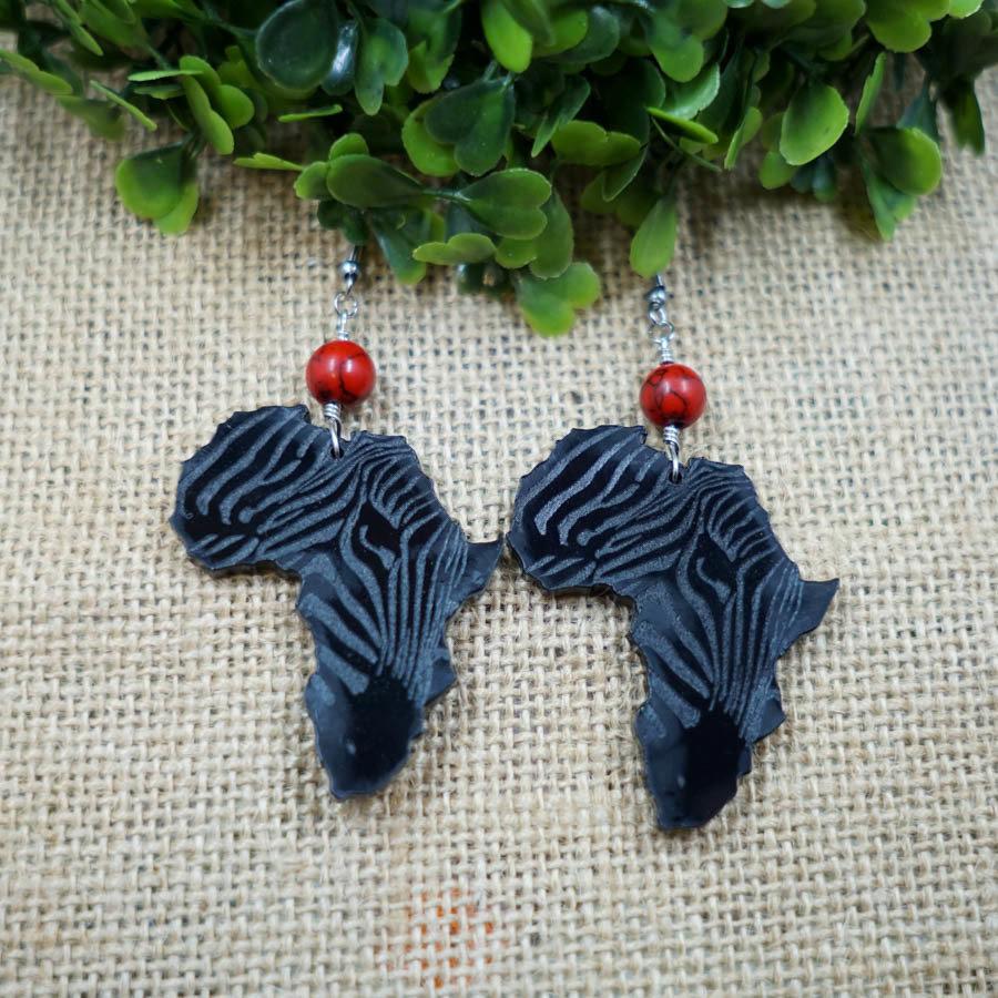 AfroZebra Earrings w/ Red and Black Beads AFRZEB-EAR-ABLK-BREDBLK-M