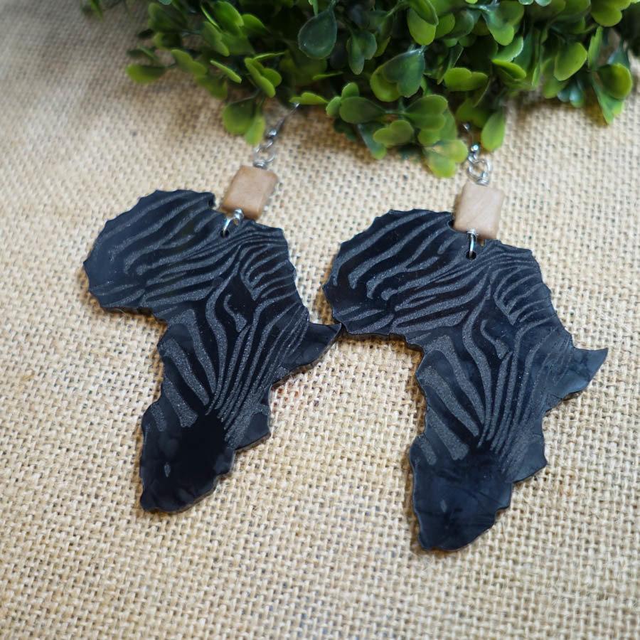 AfroZebra Earrings w/ Tan Beads AFRZEB-EAR-ABLK-BTAN-L