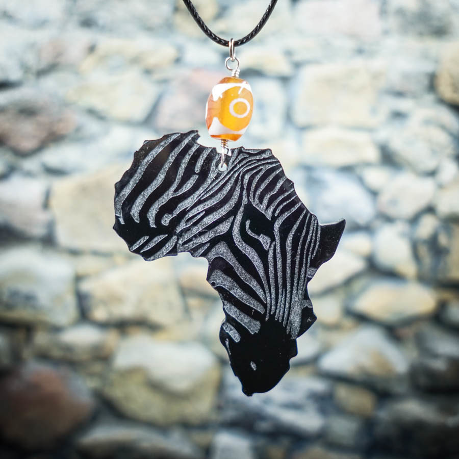 AfroZebra Necklace w/ Orange Glass Bead AFRZEB-NEC-ABLK-BORA-L