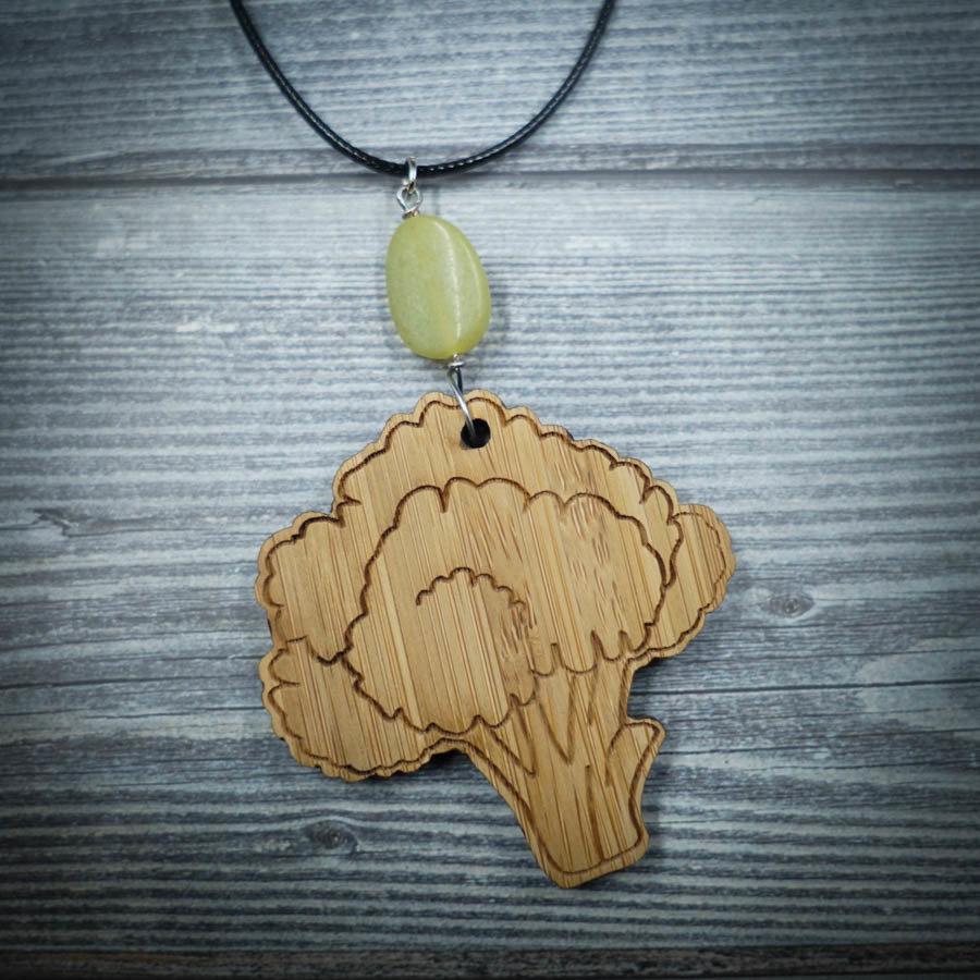 Broccoli Bamboo Necklace w/ Green Bead BROC-NEC-WBAM-BGRE-L