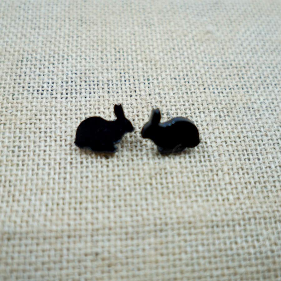 Bunny Crouching Earring Studs BUNI-EAR-ABLK-B-STUD1