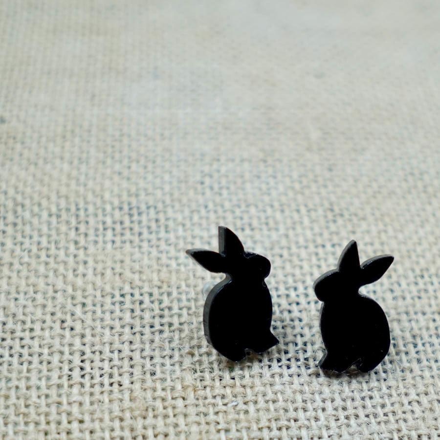 Bunny Curious Earring Studs BUNI-EAR-ABLK-B-STUD2