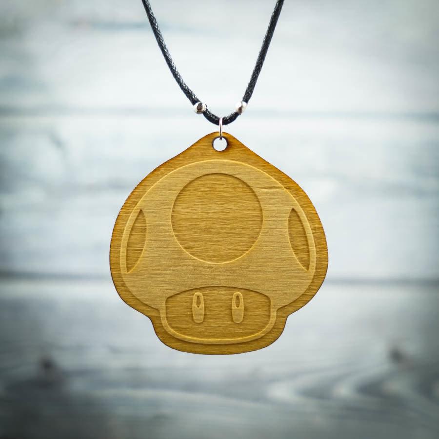 Happy Mushroom Necklace MMUSH-NEC-WBIR-B-M