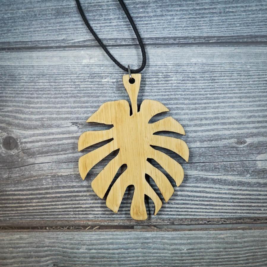 Leaf Bamboo Necklace LEAF-NEC-WBAM-B-L