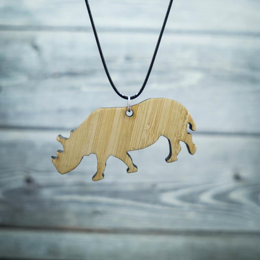 Rhino Bamboo Necklace RHINO-NEC-WBAM-B-L