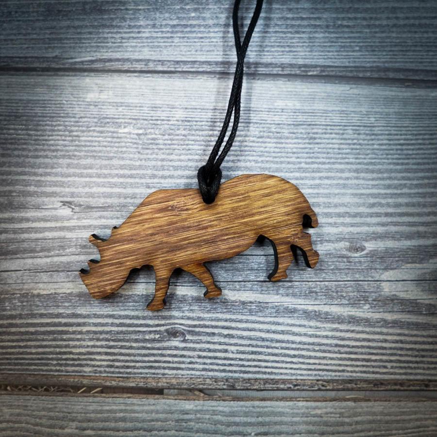 Rhino Dark Bamboo Necklace RHINO-NEC-WBAMBRWN-B-L