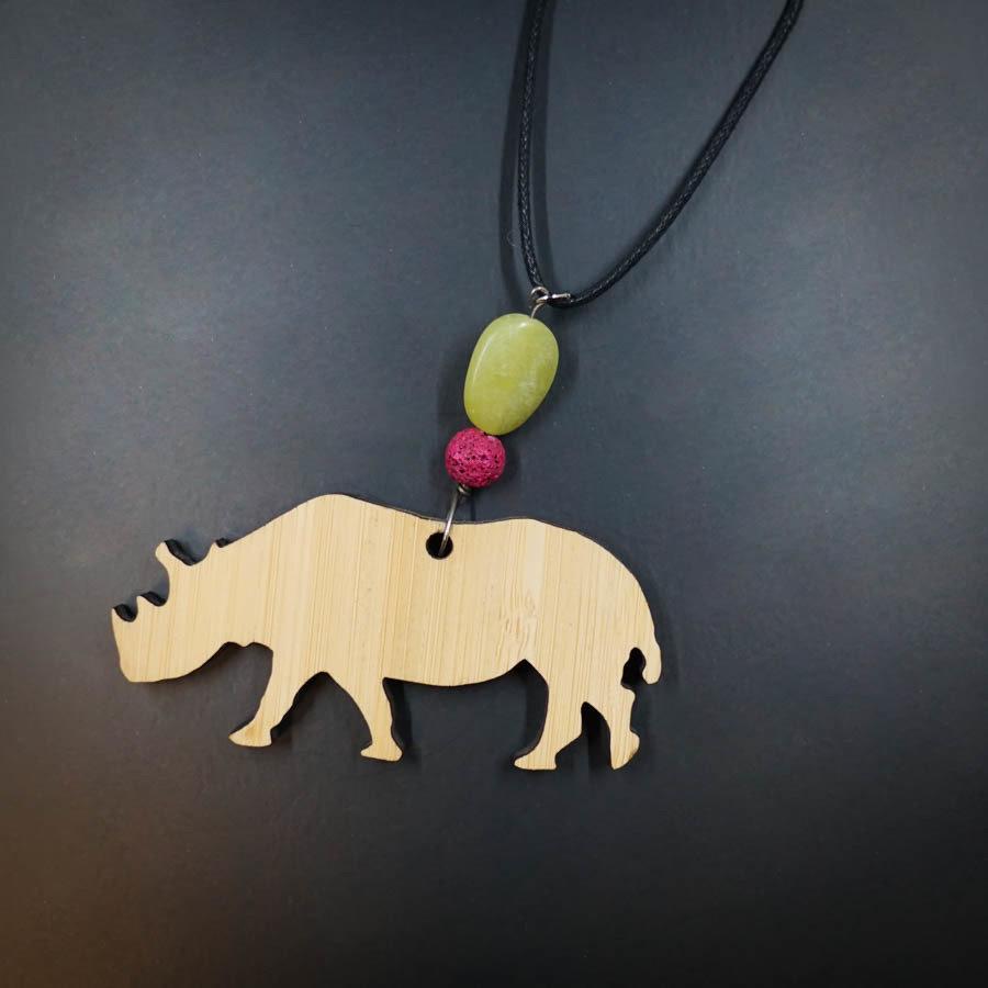 Rhino Bamboo Necklace w/ Green and Purple Beads RHINO-NEC-WBAM-BPURGRE-L