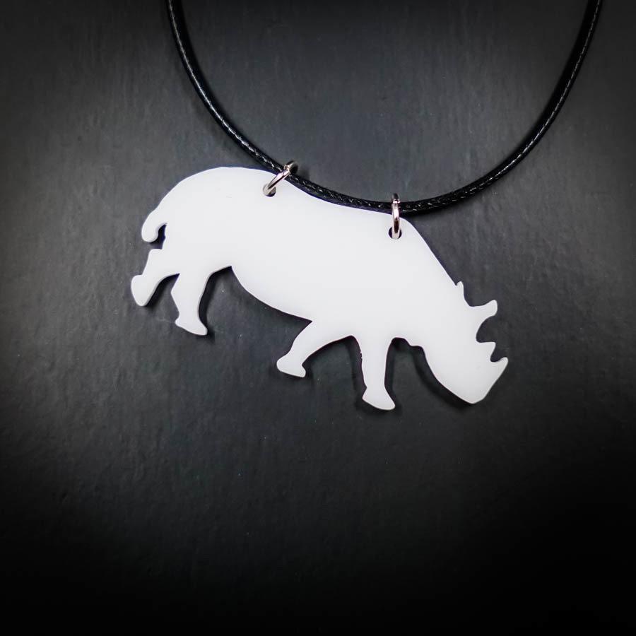 Rhino White Necklace RHINO-NEC-AWHIT-B-M