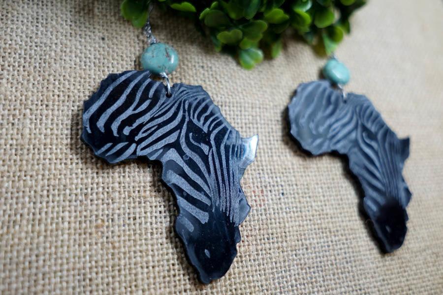 AfroZebra Earrings w/ Blue Beads