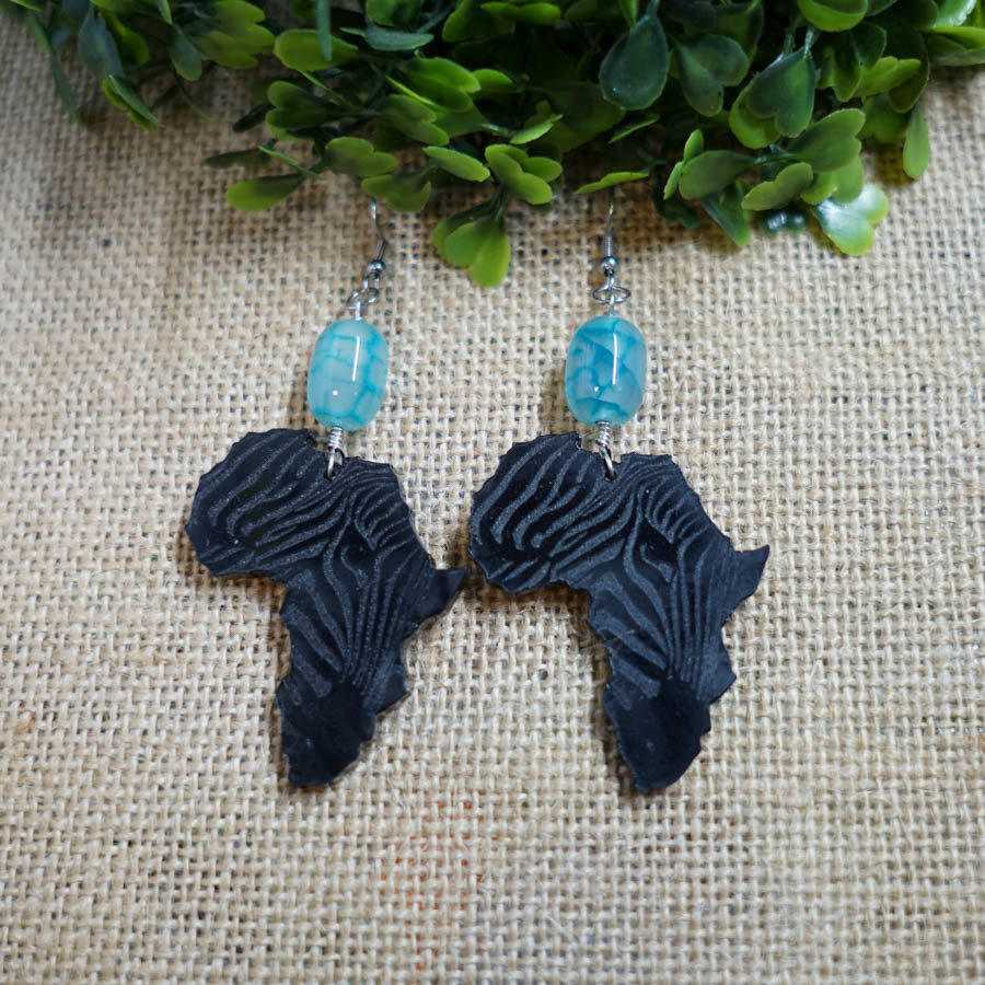AfroZebra Earrings w/ Blue Glass Beads