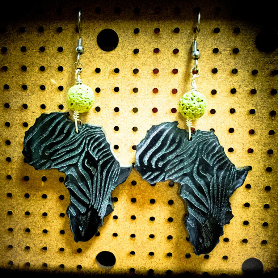 AfroZebra Earrings w/ Green Coral Beads