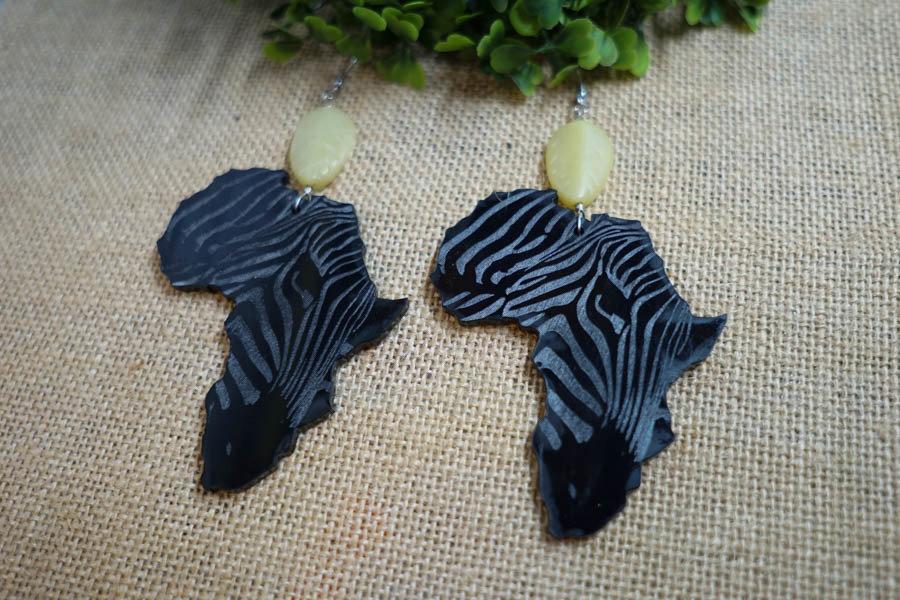 AfroZebra Earrings w/ Green Leaf Beads