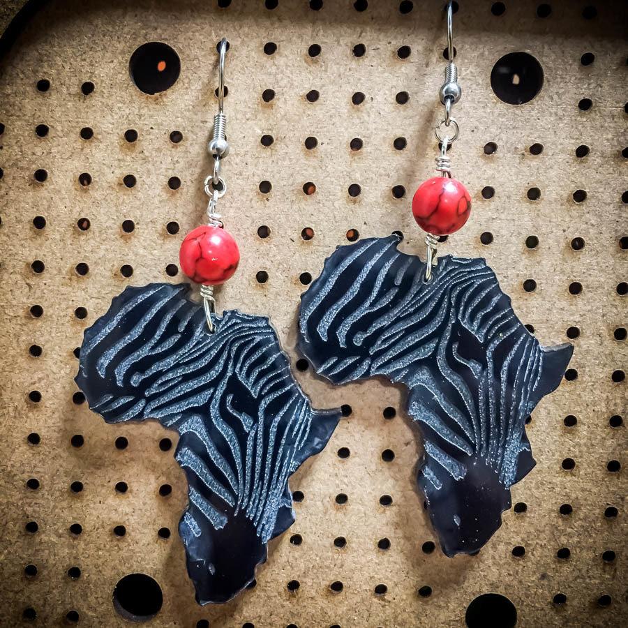 AfroZebra Earrings w/ Red and Black Beads
