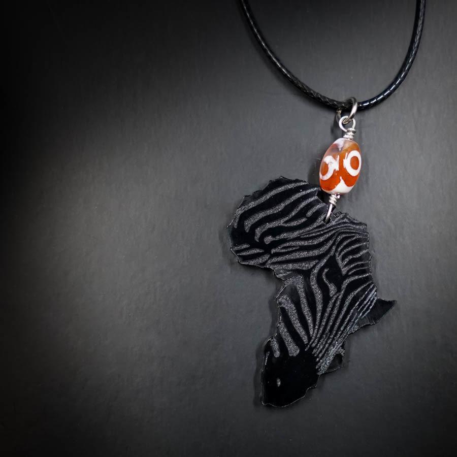 AfroZebra Necklace w/ Orange Glass Bead