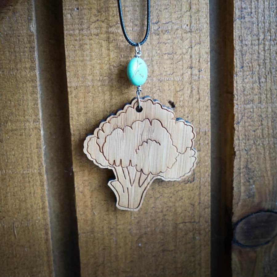 Broccoli Bamboo Necklace w/ Blue Bead