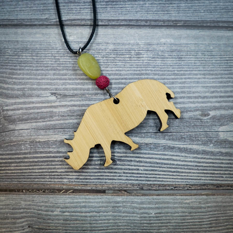 Rhino Bamboo Necklace w/ Green and Purple Beads