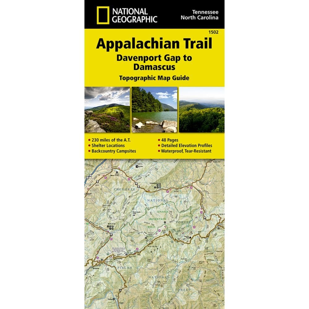 National Geograhic # 1502 Appalachian Trail, Davenport Gap to Damascus (North Carolina, Tennessee) Trail Map