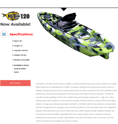 3 Waters Kayaks Big Fish 120 Urban Camo