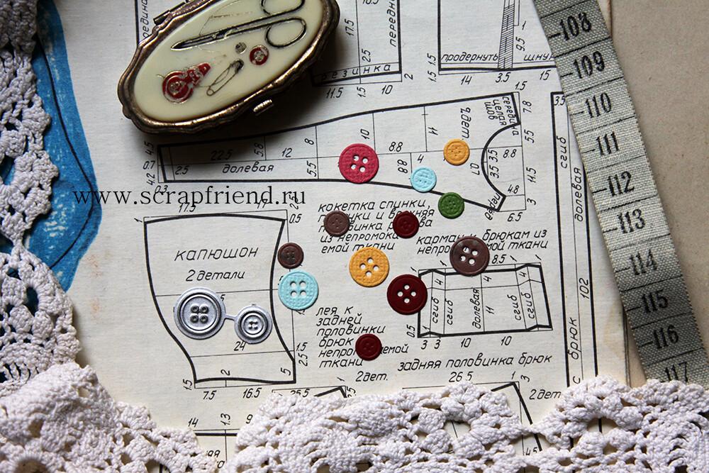 Dies Buttons, 2 pieces, 6 and 10mm, Scrapfriend