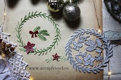 Набор ножей для вырубки Рождественский венок, 9 ножей, Scrapfriend