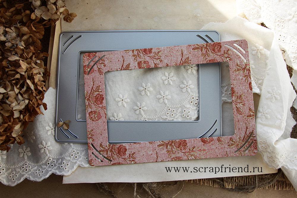 Нож для вырубки Беатрис: Подложка-рамка с прорезями под фотографию 10х15см, Scrapfriend sf0032