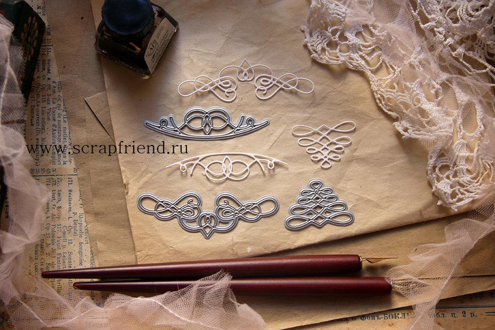 Набор ножей для вырубки Каллиграфия, 3 штуки, Scrapfriend sf0097