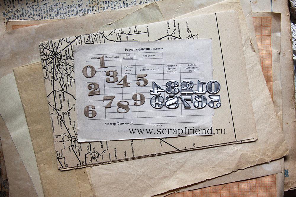 Набор ножей для вырубки Цифры Генерал, высота цифры 1,4см, Scrapfriend