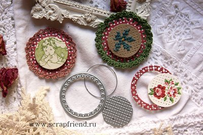 Dies Circles for embroidery and knitting, 3 pcs, 3-4 cm, Scrapfriend