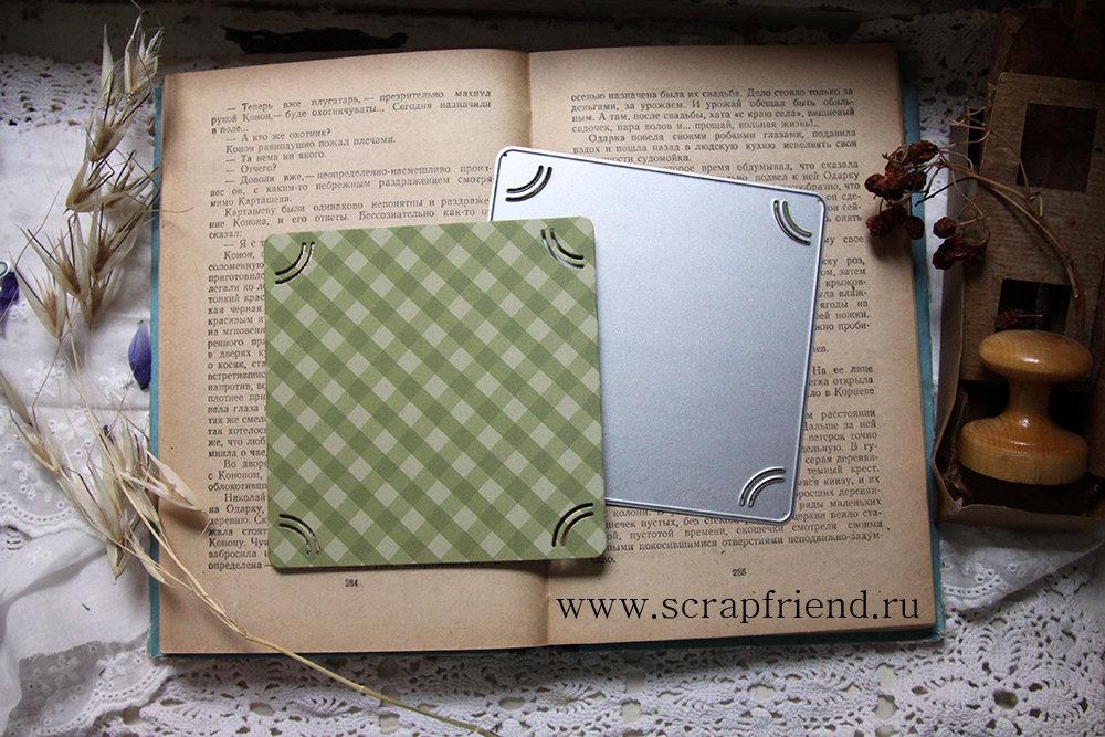 Нож для вырубки Цедрик: Подложка с прорезями под фотографию 10х10см, instasize, Scrapfriend