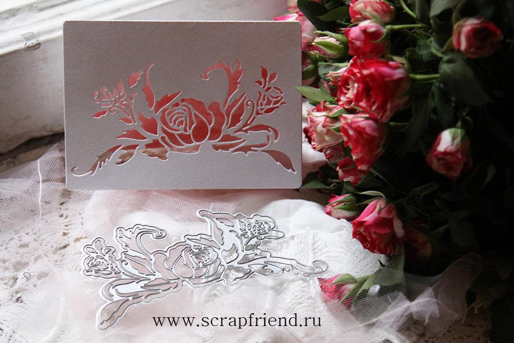 Набор ножей для вырубки Трафарет Розы, 13х7см, Scrapfriend sf0130