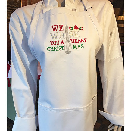 'We Whisk You A Merry Christmas' White Apron 00200