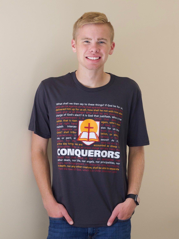 Romans 8 - Conquerors t-shirt