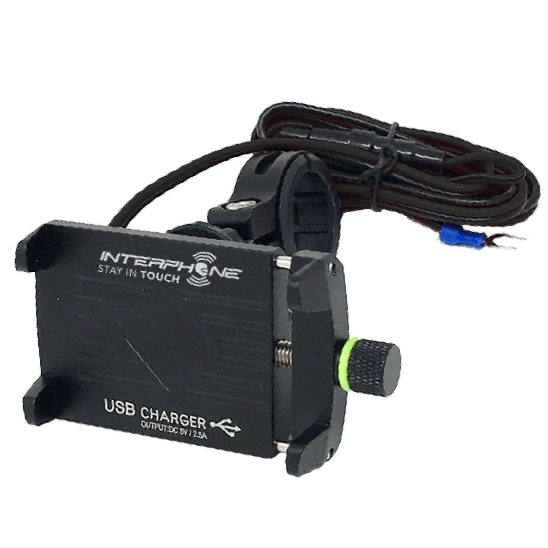 SUPPORTO CELLULARE UNIVERSALE IN ALLUMINIO PER MANUBRIO CON PRESA USB