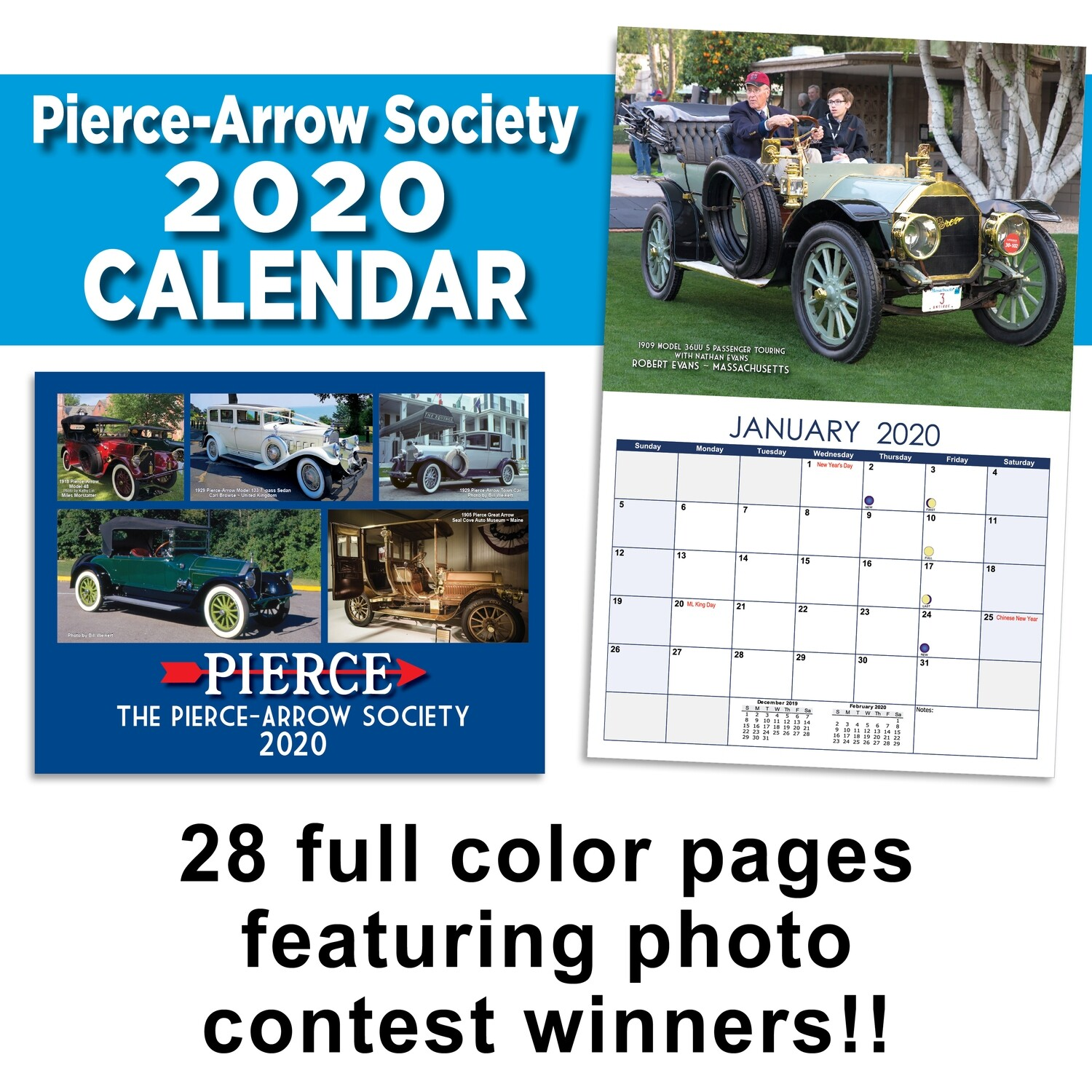2020 Pierce-Arrow Wall Calendar
