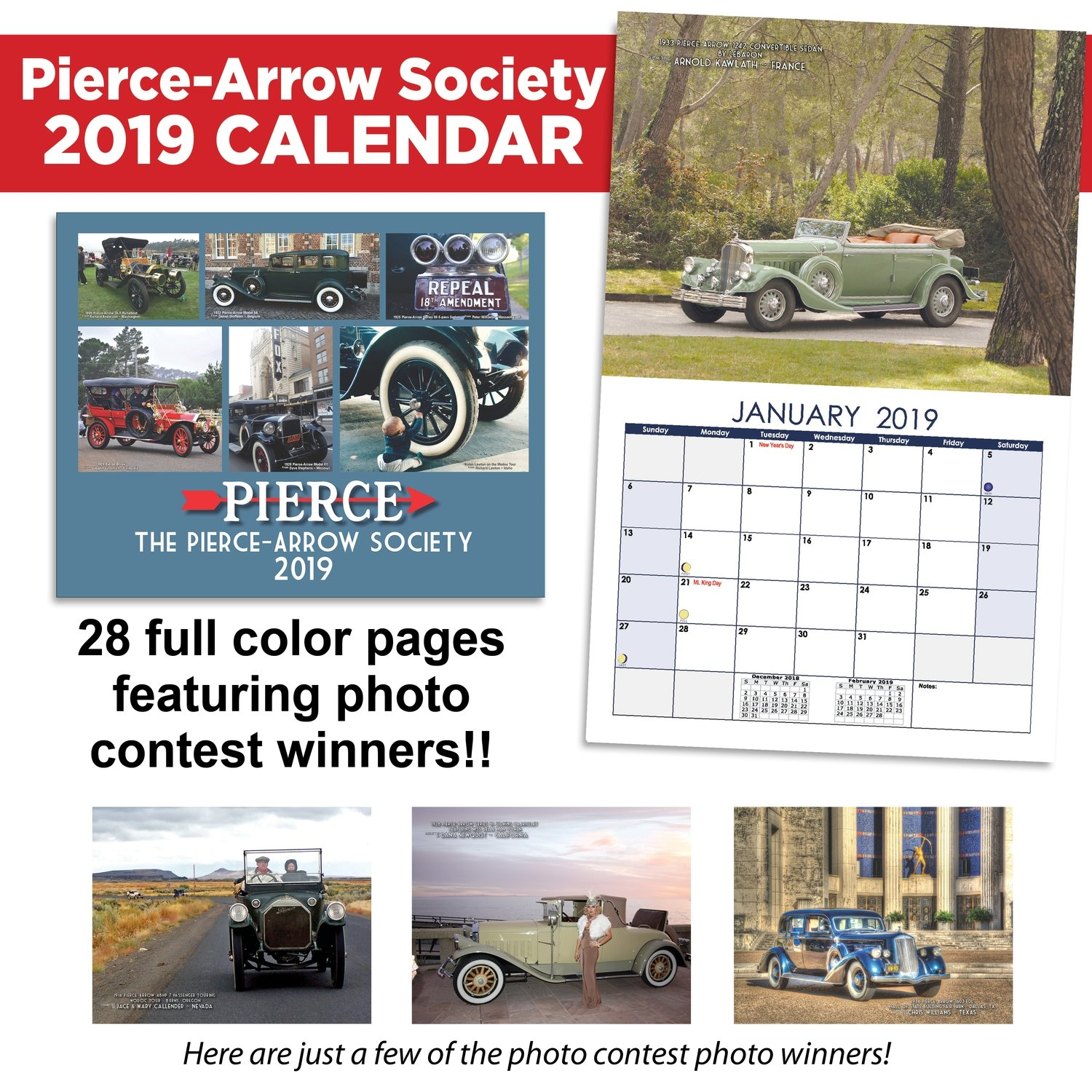 2019 Pierce-Arrow Wall Calendar