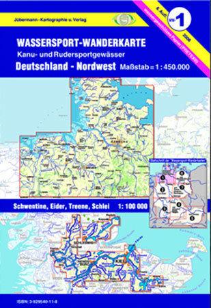 Jübermann Wassersport- Wanderkarte WW1 Deutschland- Nordwest