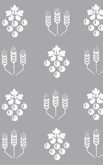 Velum,Reinleinendamast ,75x75 , Muster Ähren und Trauben